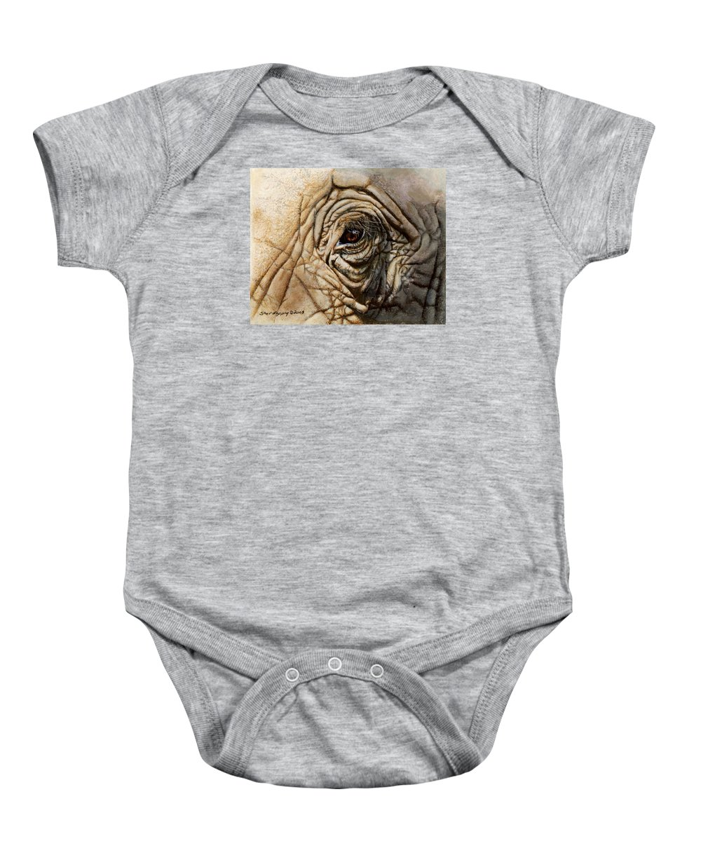 Elephant Baby Onesie featuring the painting Reflections Of Africa by Sherryl Lapping