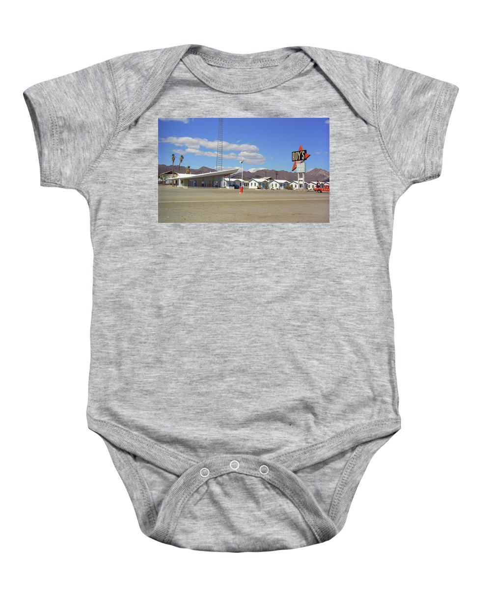 66 Baby Onesie featuring the photograph Route 66 - Roy's Of Amboy California by Frank Romeo