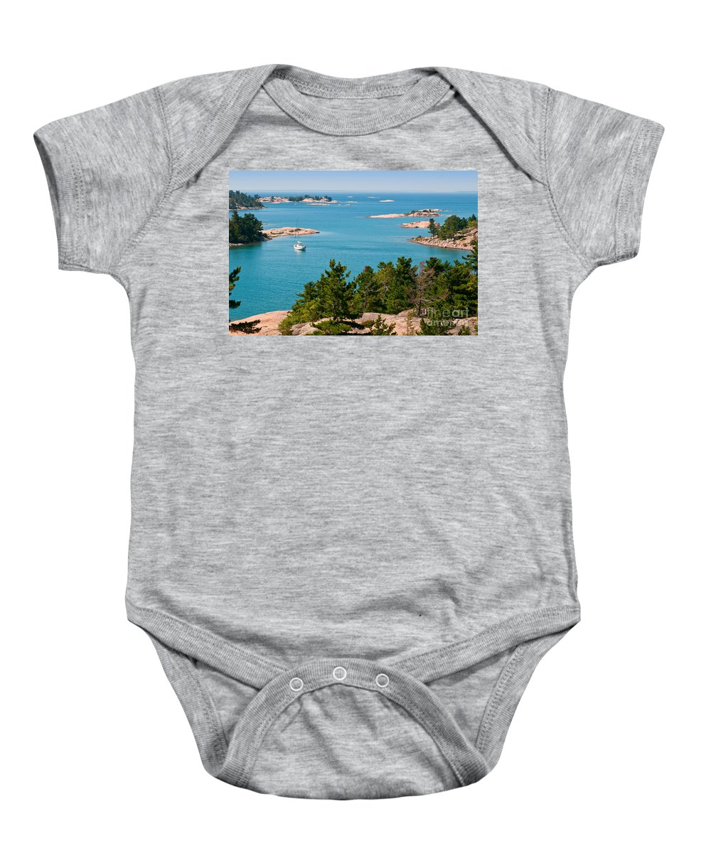 Sail Baby Onesie featuring the photograph Sailboat In Georgian Bay by Les Palenik