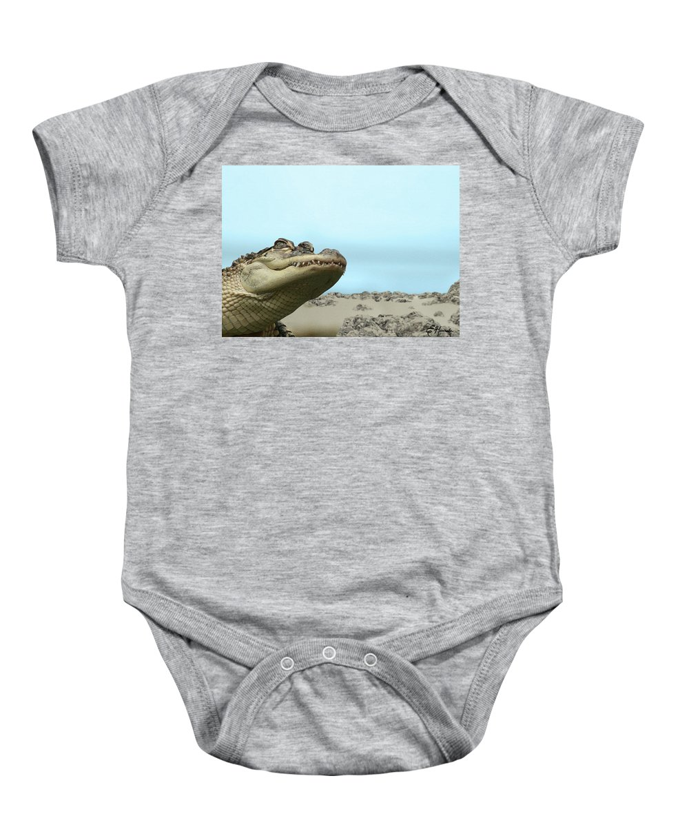 See You Later Baby Onesie featuring the painting See You Later Alligator by Ellen Henneke
