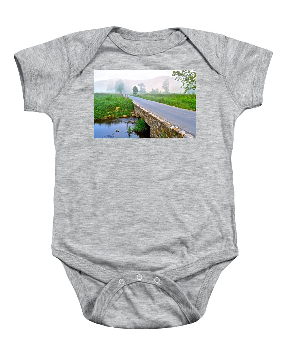 Smoky Baby Onesie featuring the photograph Smoky Mountains by Frozen in Time Fine Art Photography