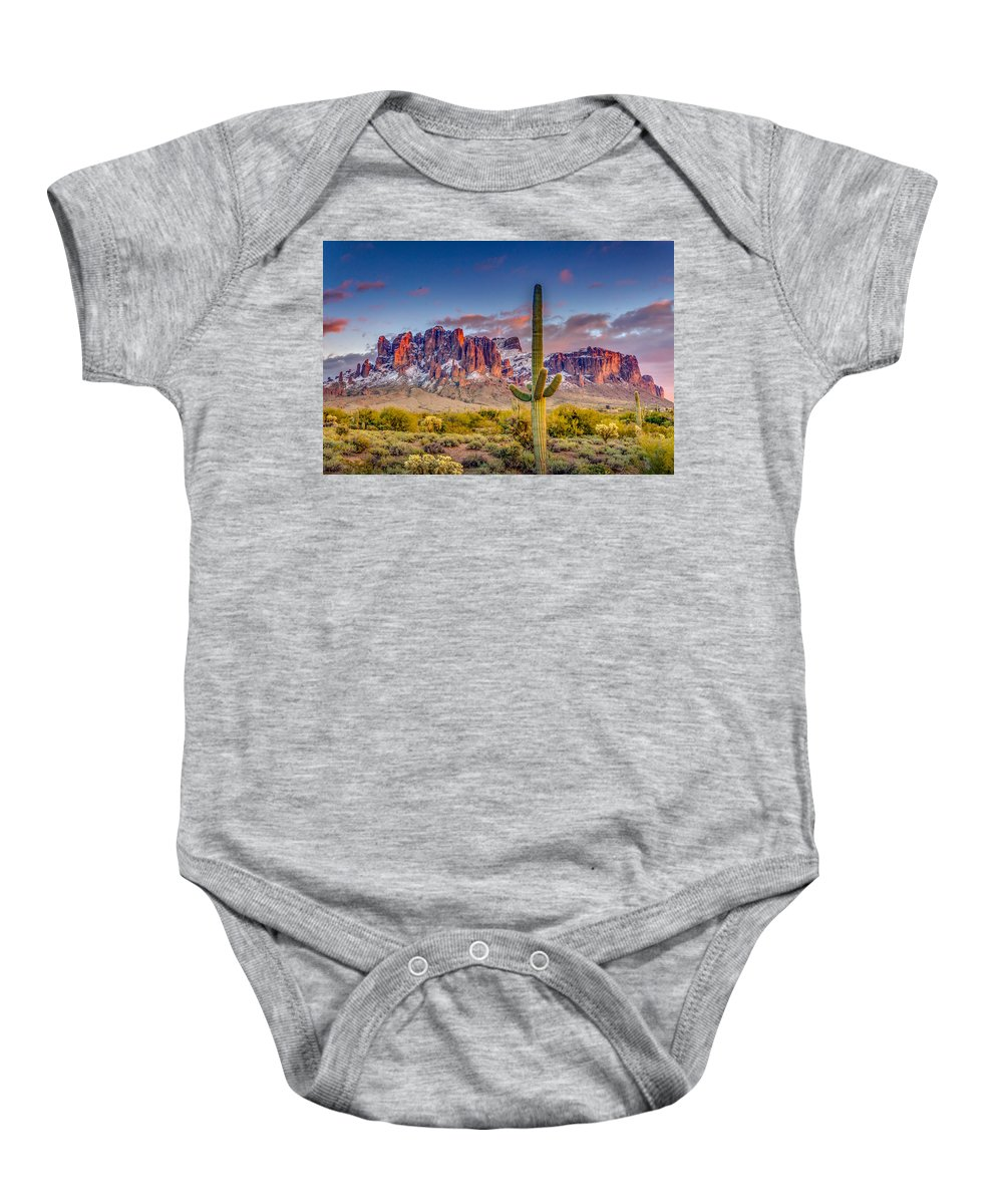 Superstition Baby Onesie featuring the photograph Superstition Mountains by Jon Manjeot
