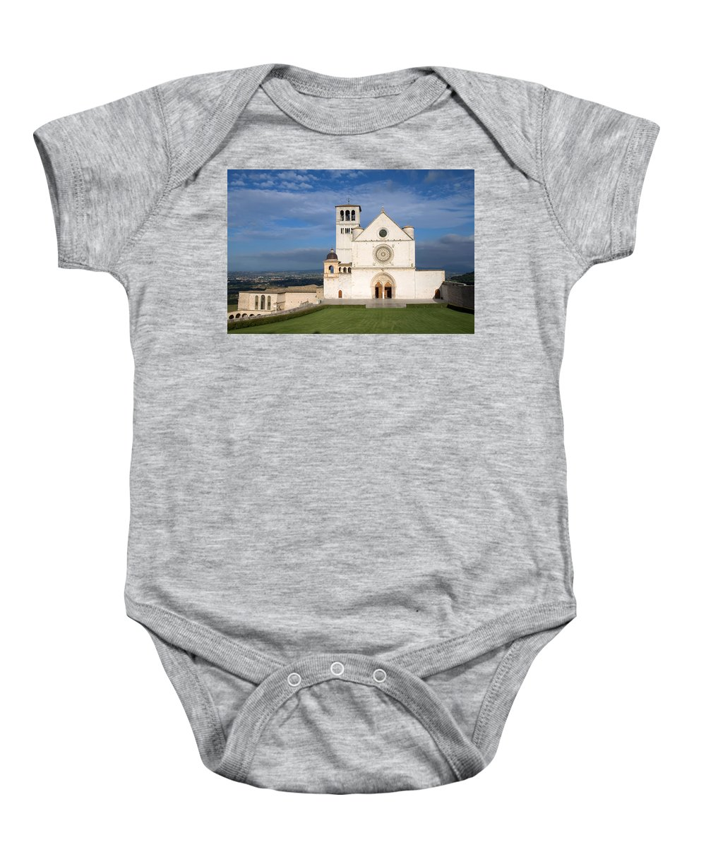 Landmark Baby Onesie featuring the photograph The Papal Basilica Of St. Francis Of Assisi by Jaroslav Frank