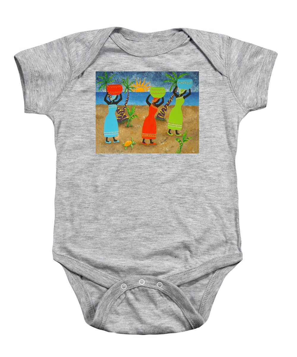 Allegretto Art Baby Onesie featuring the painting To Market by Pamela Allegretto