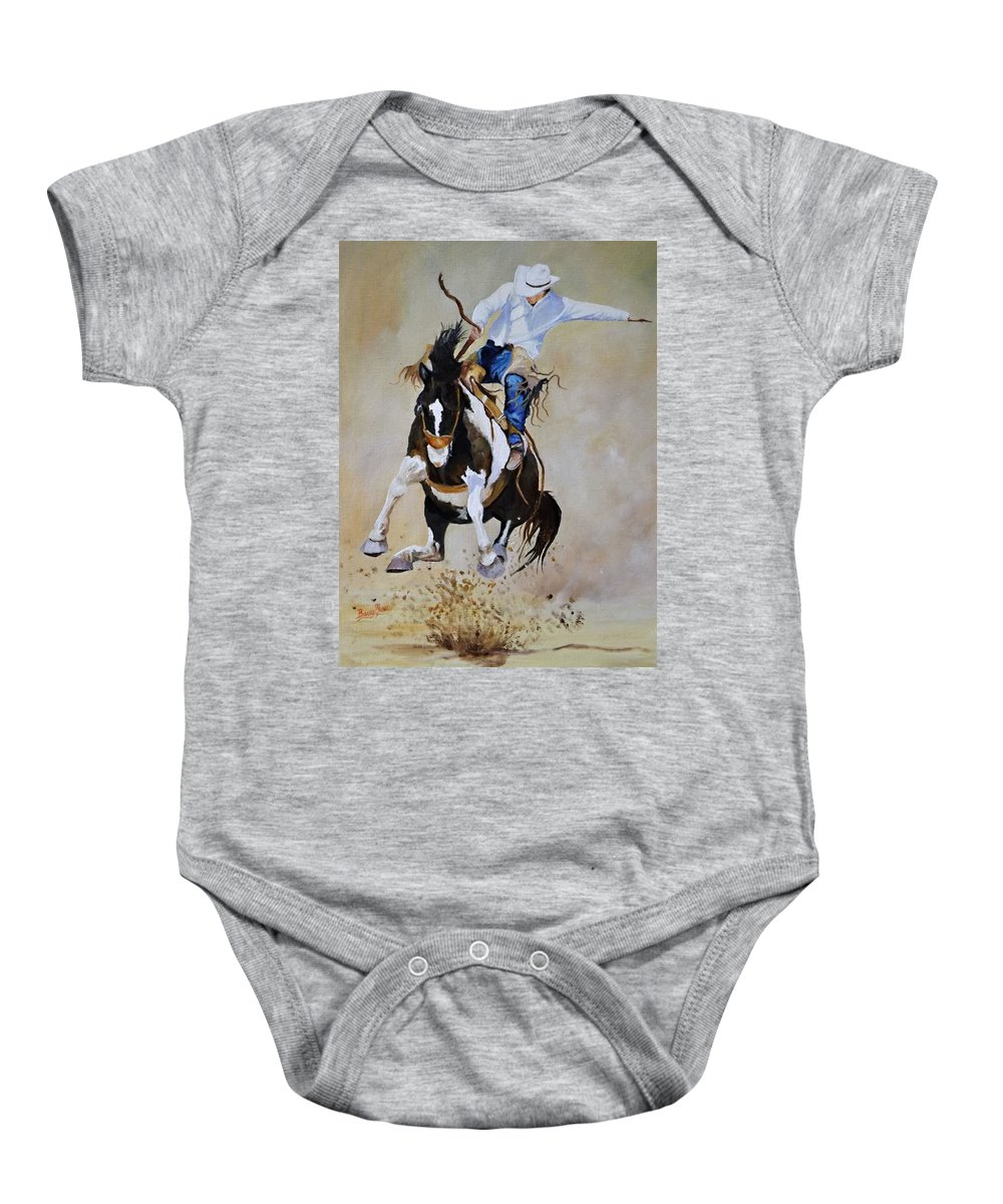 Rodeo Baby Onesie featuring the painting Trying For A 90 by Barry BLAKE