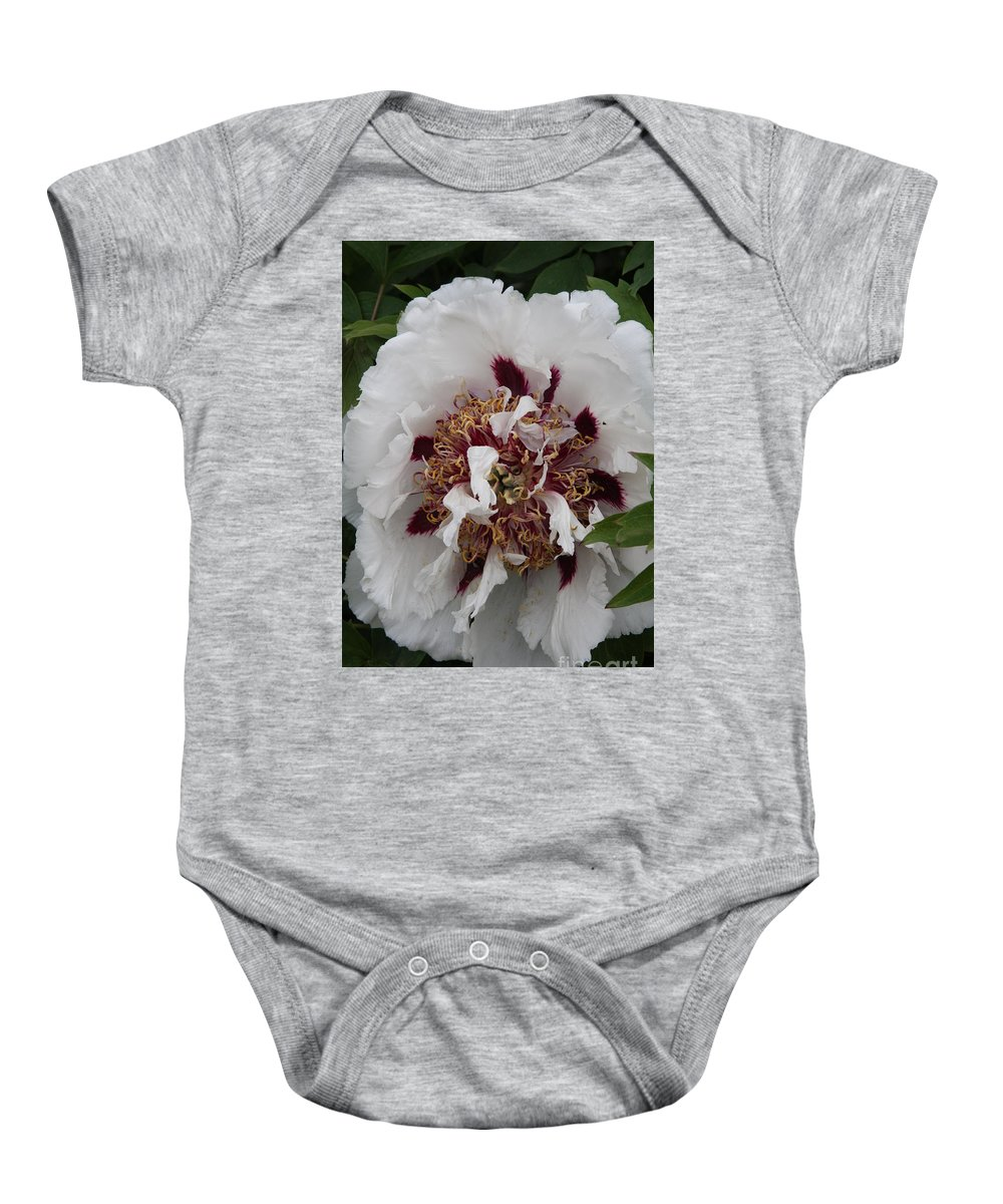 Peonies Baby Onesie featuring the photograph White Peony by Christiane Schulze Art And Photography