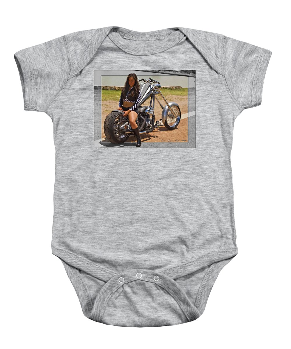 Models & Motorcycles Baby Onesie featuring the photograph Models And Motorcycles by Walter Herrit