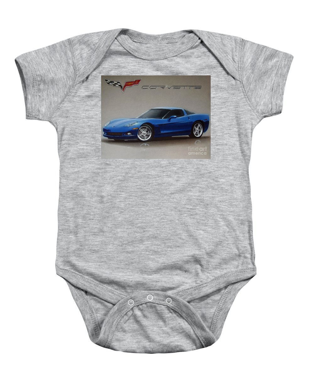 2005 Baby Onesie featuring the drawing 2005 Corvette by Paul Kuras
