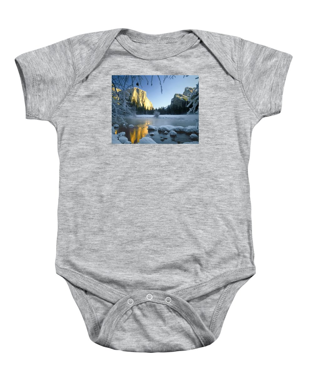 El Capitan Baby Onesie featuring the photograph 2m6538-yosemite Valley In Winter by Ed Cooper Photography