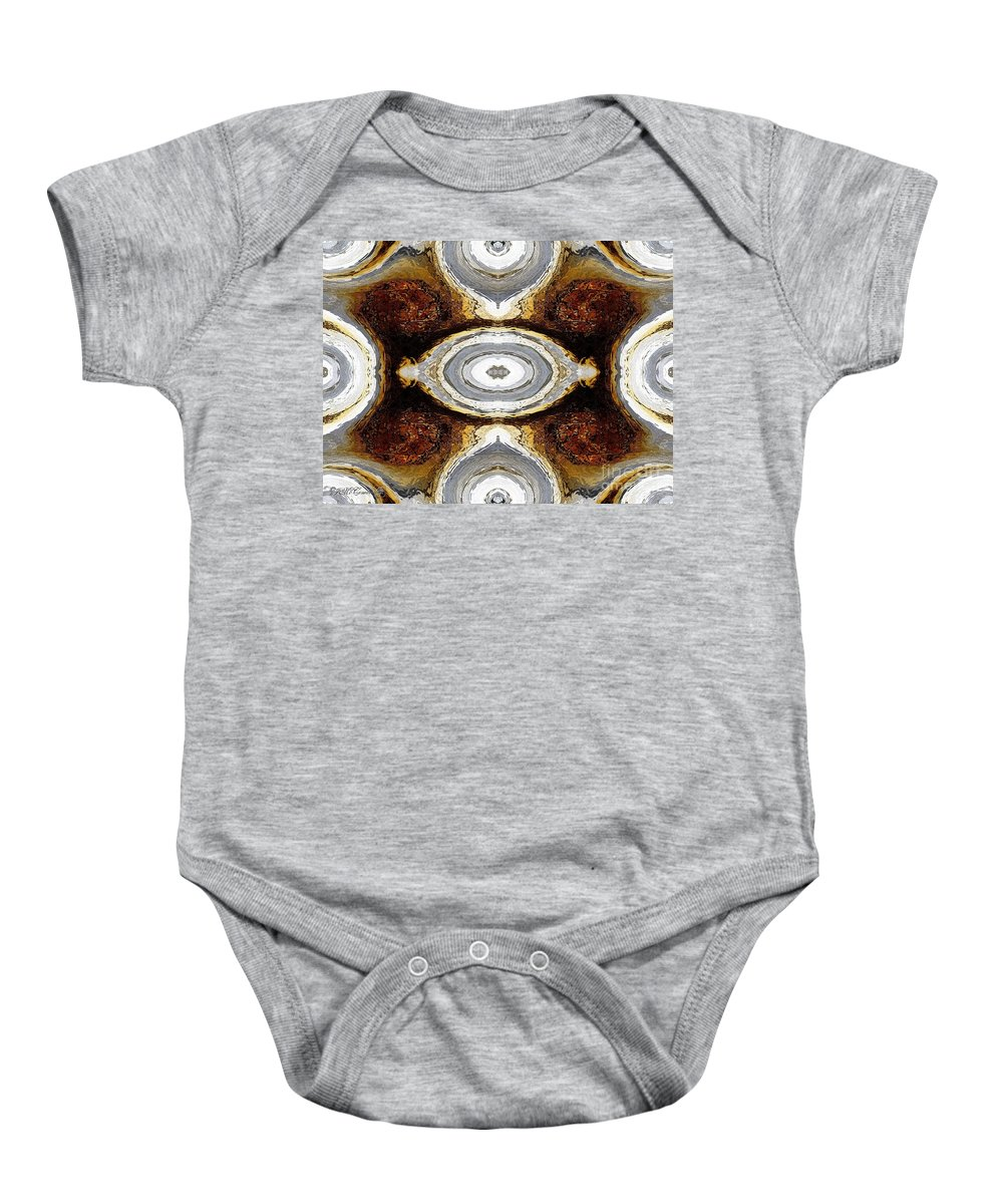 Mccombie Baby Onesie featuring the painting African Moon Abstract by J McCombie