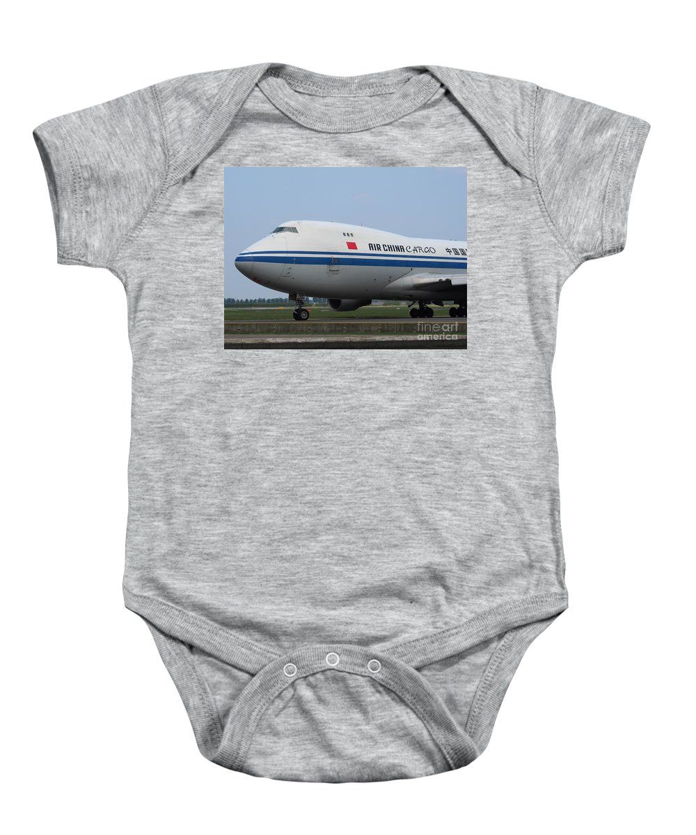 737 Baby Onesie featuring the photograph Air China Cargo Boeing 747 by Paul Fearn