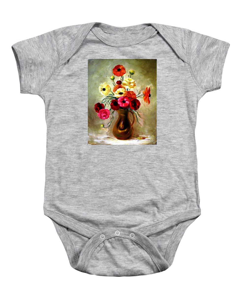 Vase Of Flowers Baby Onesie featuring the painting Basking In The Light by Hazel Holland