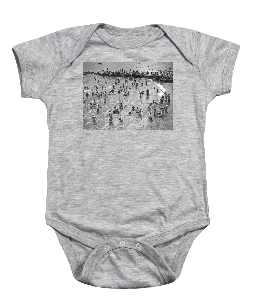 1938 Baby Onesie featuring the photograph Bathers At Coney Island by Underwood Archives