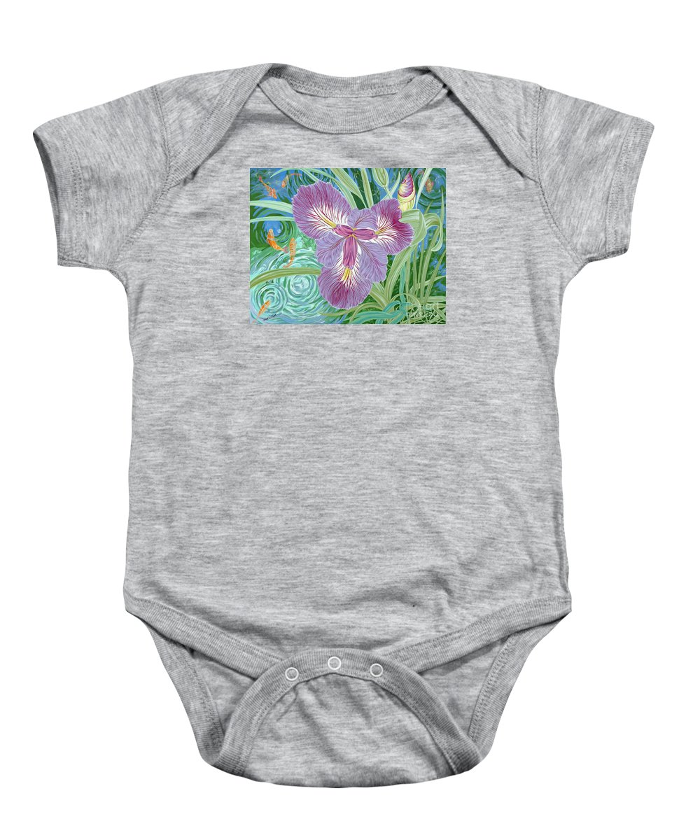 Purple Iris Flower And Buds Baby Onesie featuring the painting Beverly by John Wilson