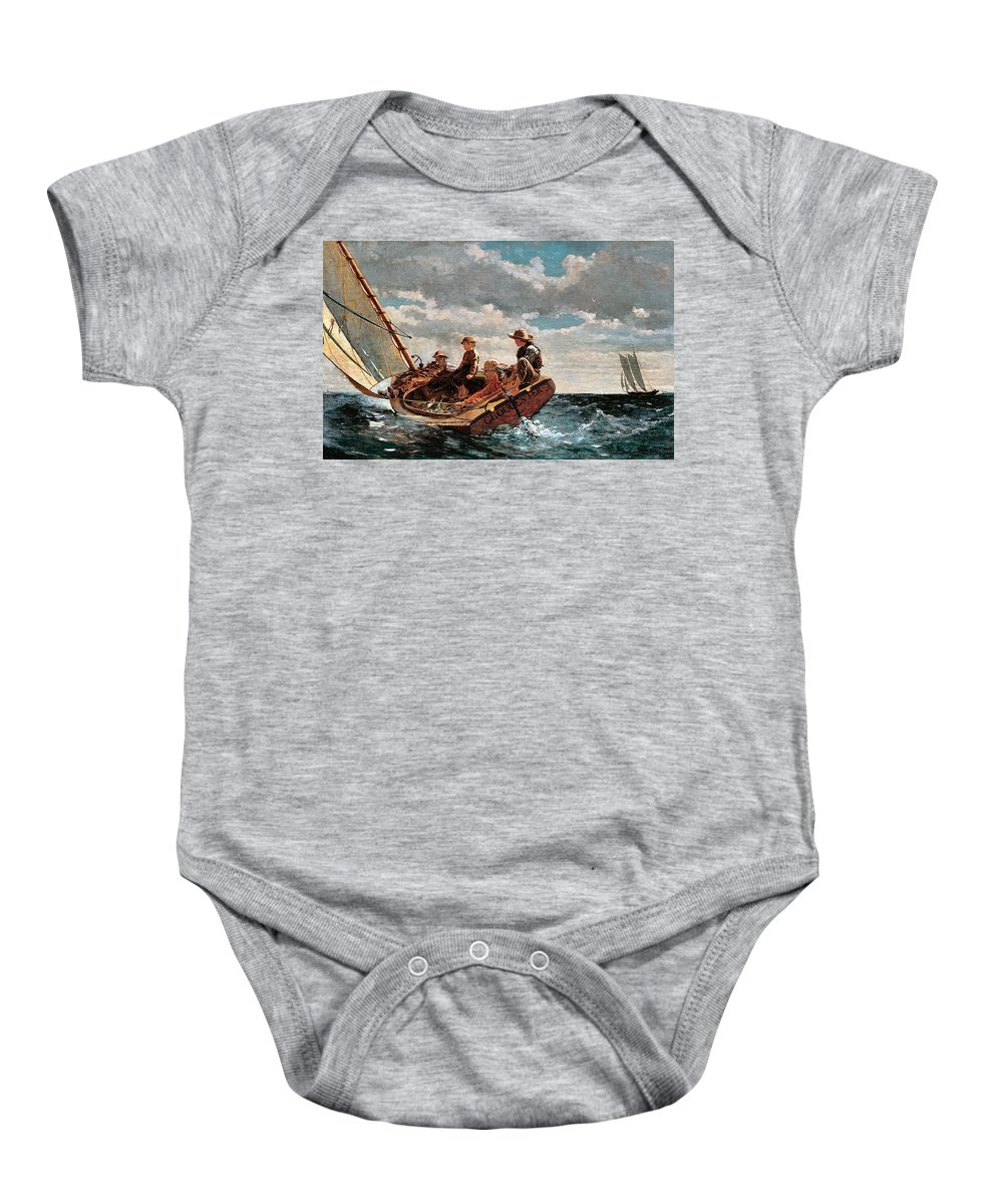 Winslow Homer Baby Onesie featuring the digital art Breezing Up by Winslow Homer