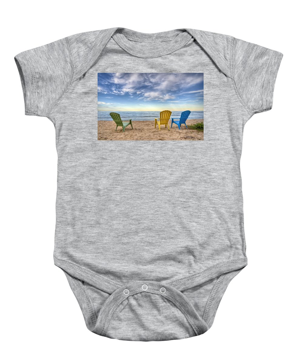Chairs Baby Onesie featuring the photograph 3 Chairs by Scott Norris