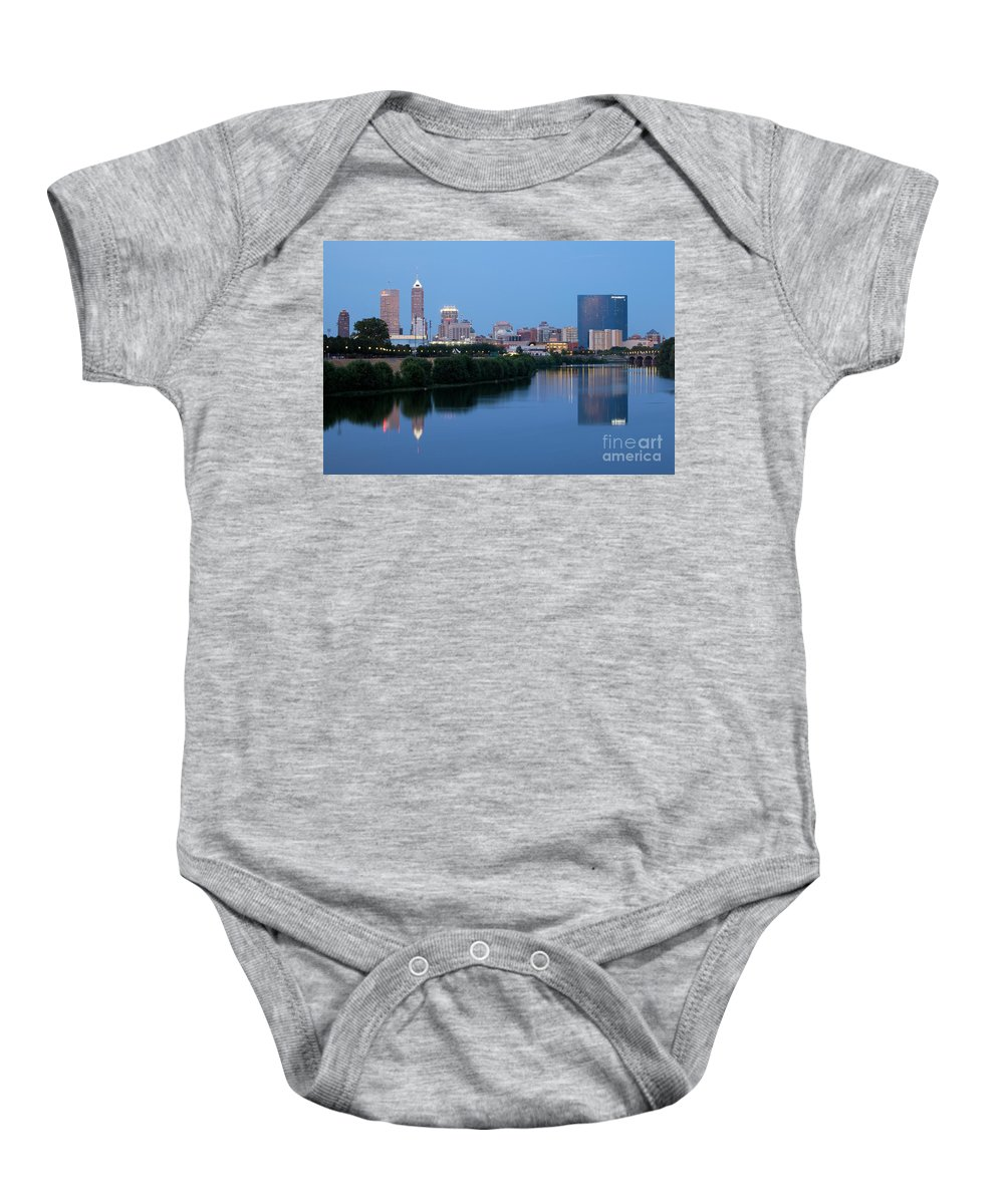 Skyline Scenes Baby Onesie featuring the photograph Downtown Indianpolis Indiana Skyline by Bill Cobb