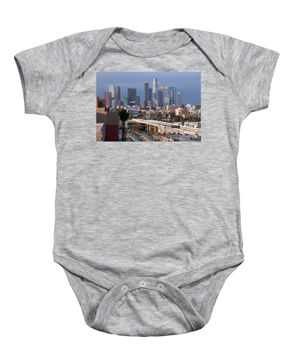 Los Angeles Baby Onesie featuring the photograph Downtown Los Angeles Skyline by Bill Cobb