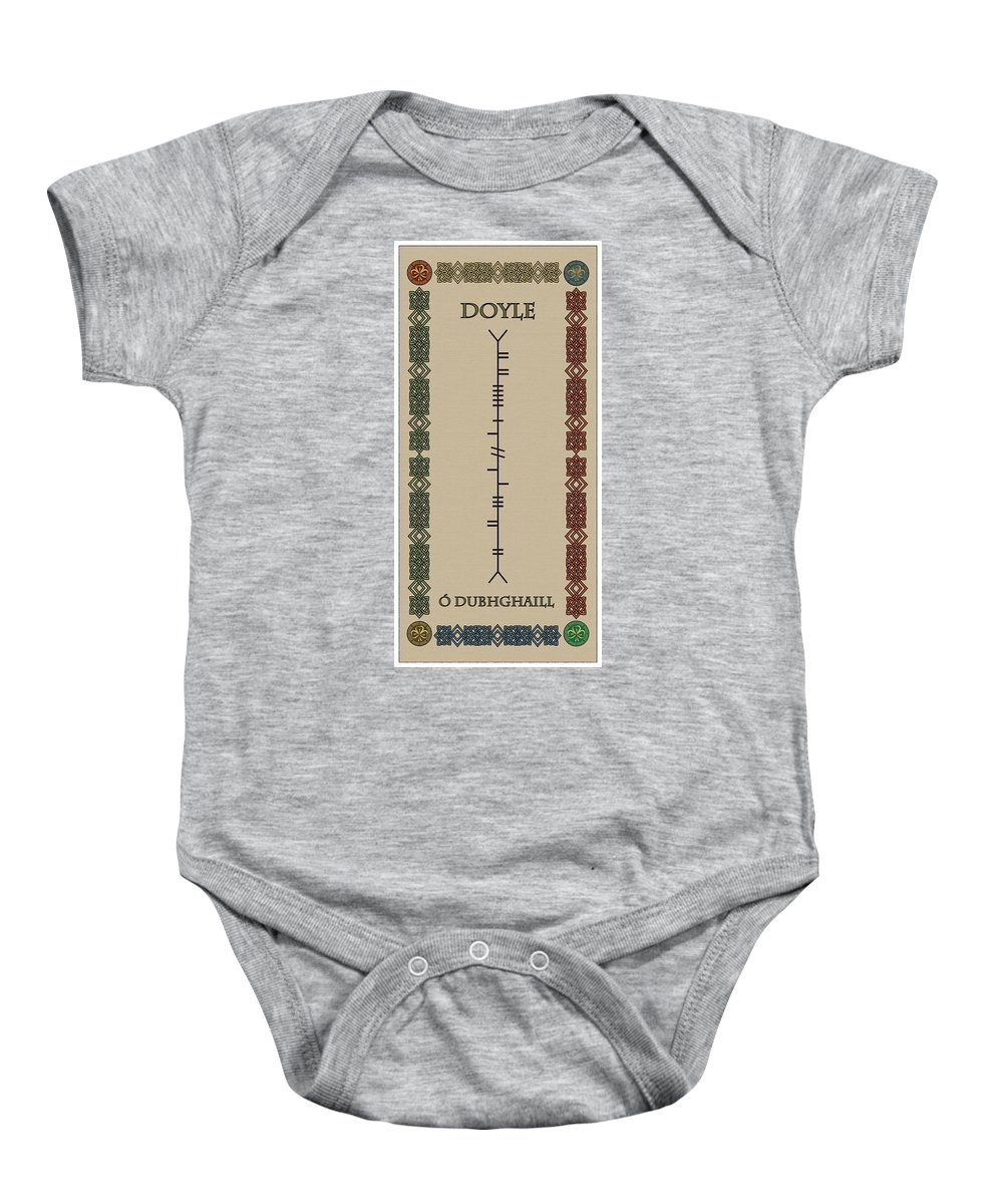 Doyle Baby Onesie featuring the digital art Doyle Written In Ogham by Ireland Calling