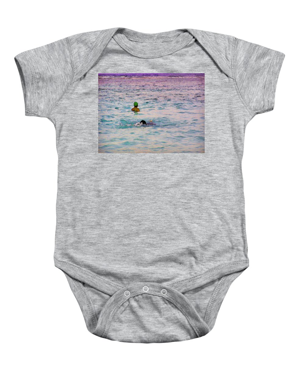 Action Baby Onesie featuring the digital art Enjoying The Water In The Coral Reef Lagoon by Ashish Agarwal