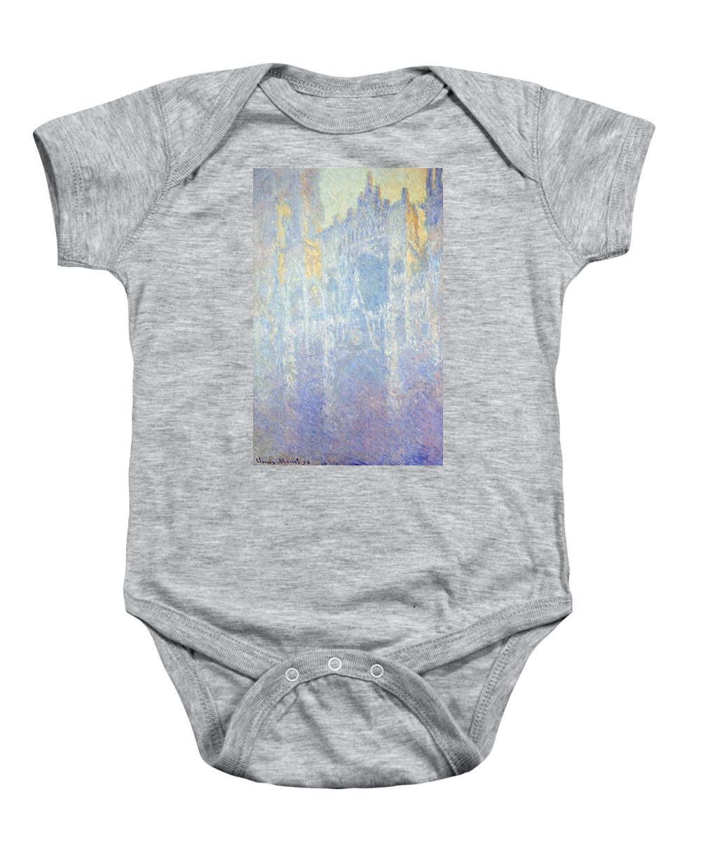 Art Baby Onesie featuring the painting Rouen Cathedral by Claude Monet