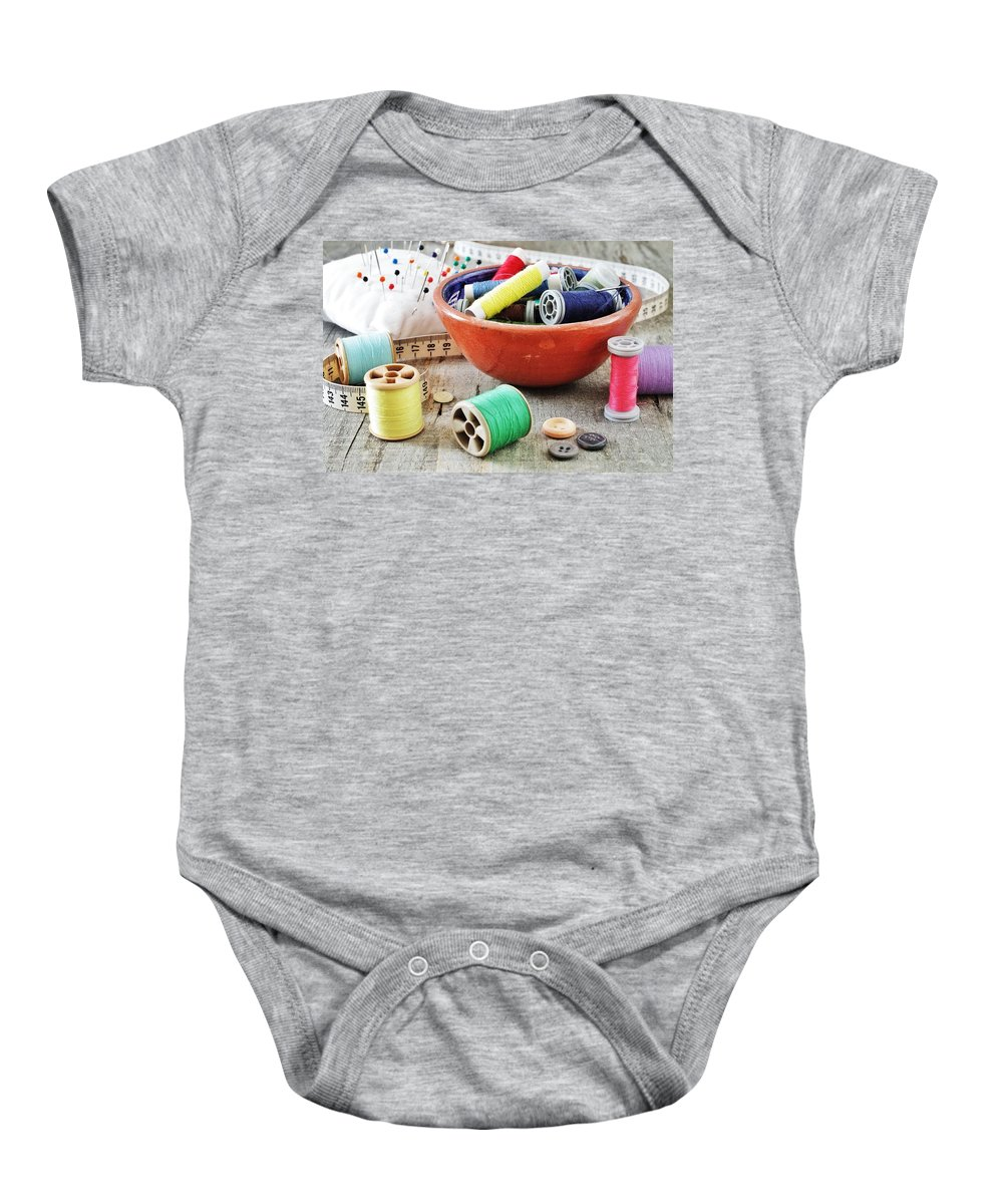 Sewing Baby Onesie featuring the photograph Sewing Supplies by Paulo Goncalves