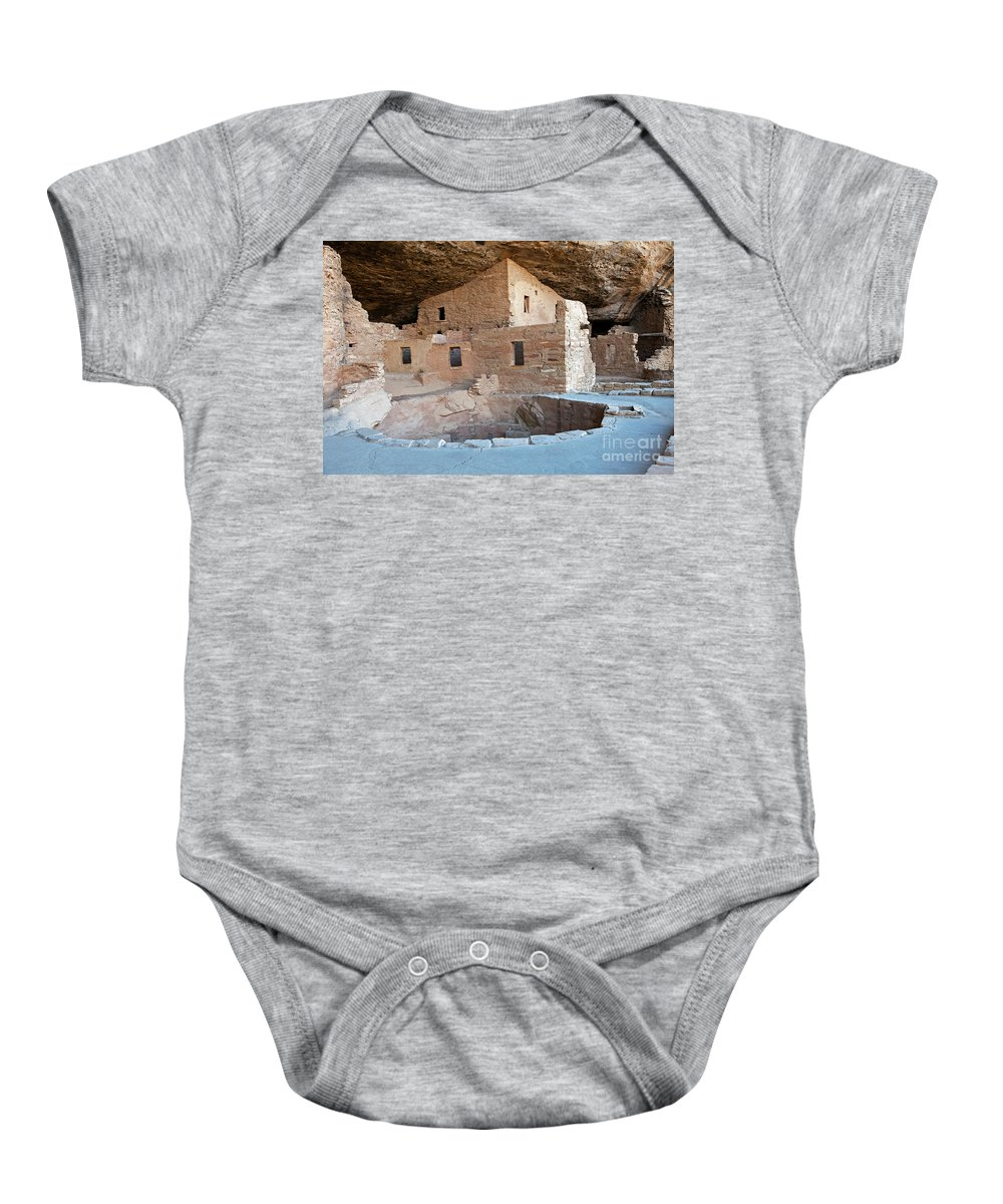 Colorado Baby Onesie featuring the photograph Spruce Tree House Mesa Verde National Park by Fred Stearns