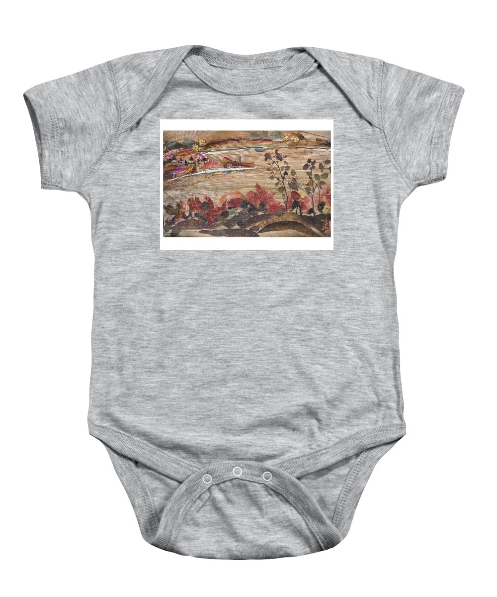 Landscape Baby Onesie featuring the mixed media Village Near Pond by Basant Soni