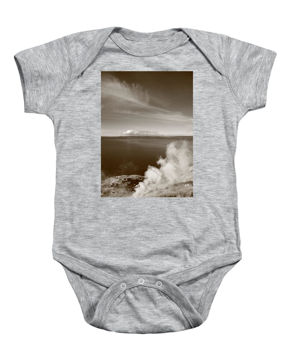 America Baby Onesie featuring the photograph Yellowstone Lake And Geysers by Frank Romeo