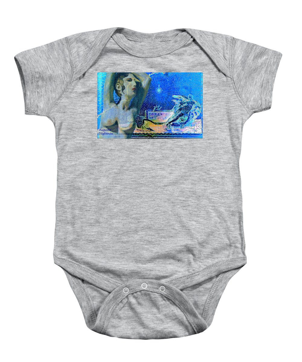 Augusta Stylianou Baby Onesie featuring the digital art Ancient Cyprus Map And Aphrodite by Augusta Stylianou