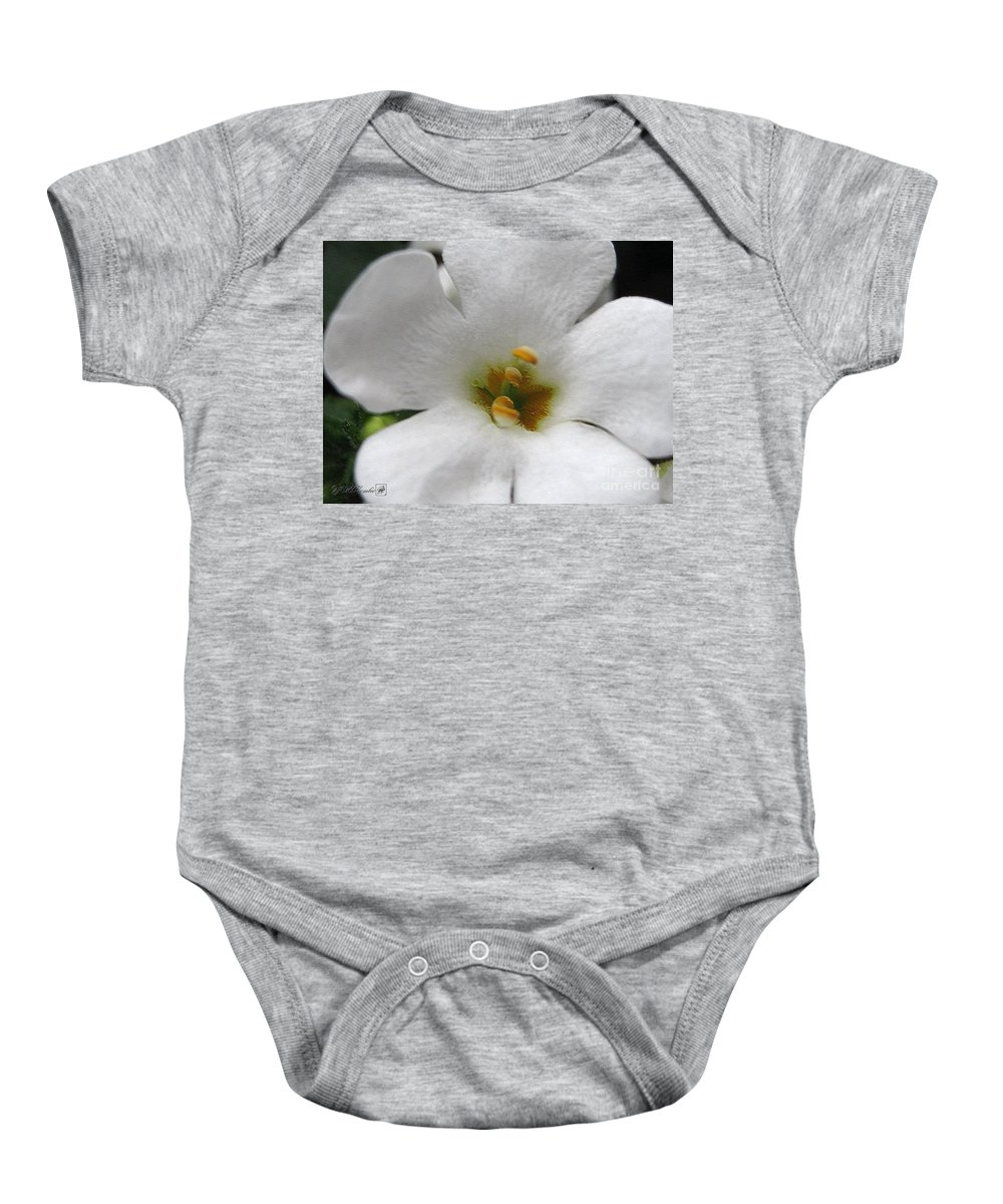 Bacopa Baby Onesie featuring the digital art Bacopa Named Snowtopia by J McCombie