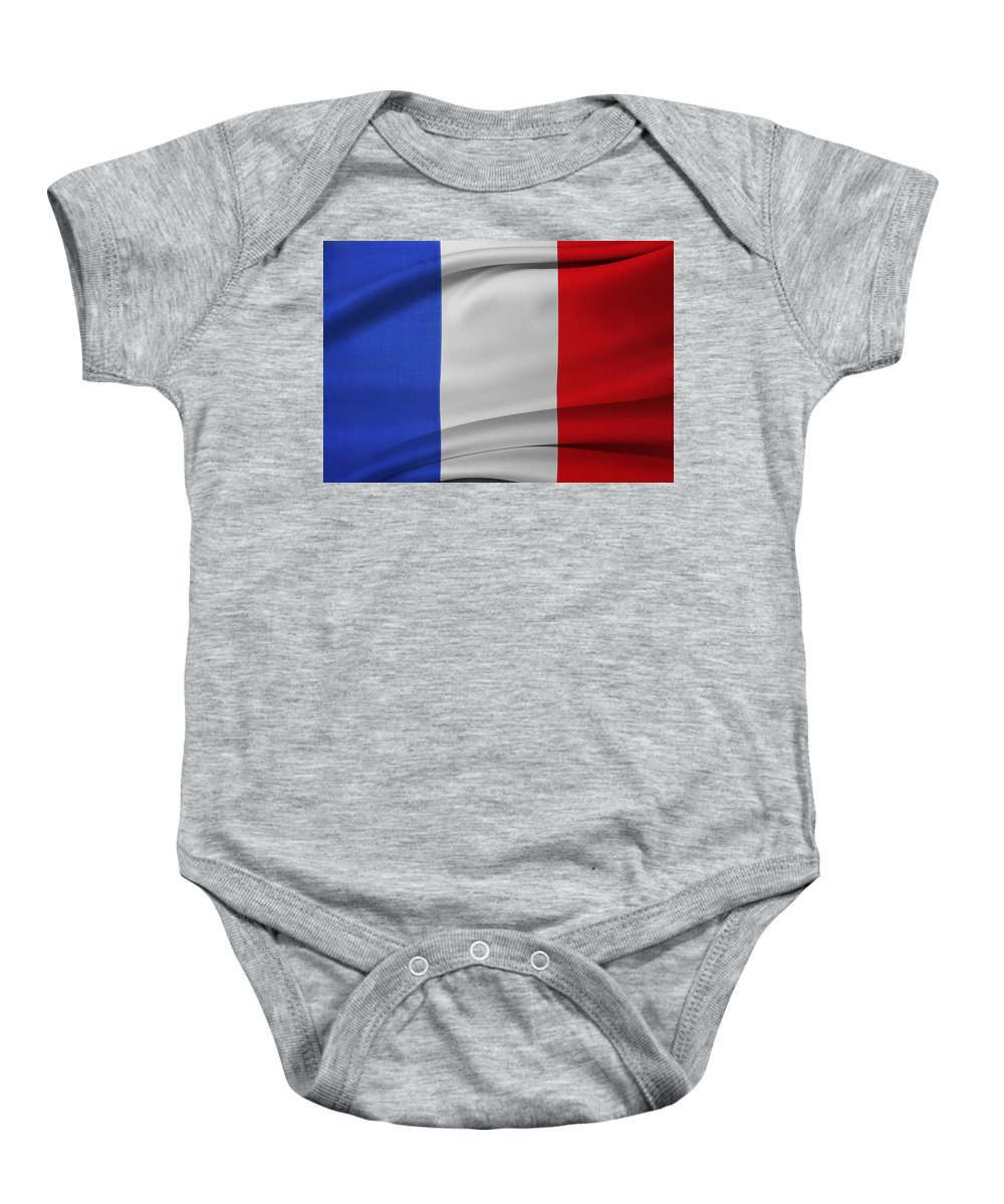 Flag Baby Onesie featuring the photograph French Flag by Les Cunliffe