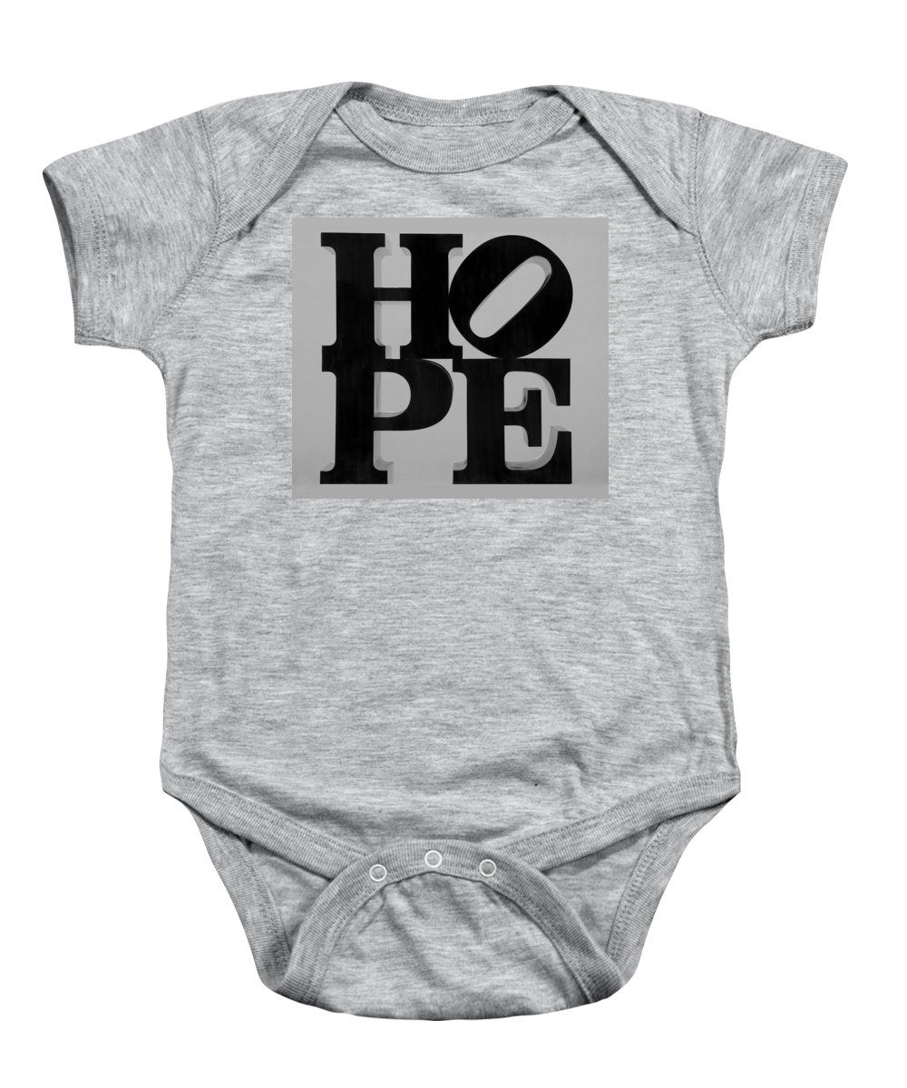 Hope Baby Onesie featuring the photograph Hope In Black And White by Rob Hans