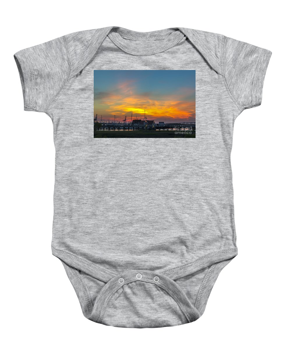 Sunset Baby Onesie featuring the photograph Harbor Lowcountry Sunset by Dale Powell