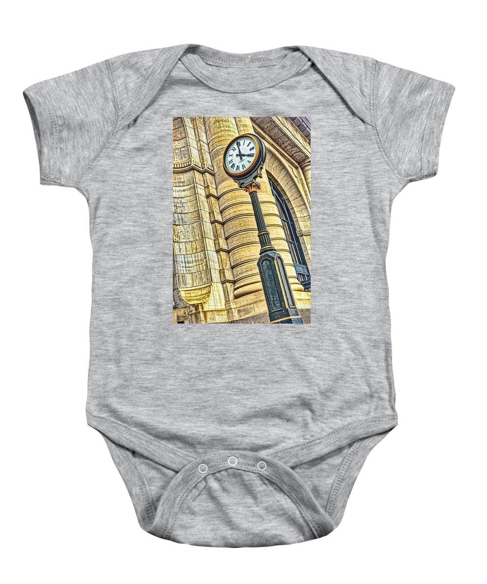 4 O'clock Baby Onesie featuring the photograph 4 O'clock Train by Sennie Pierson