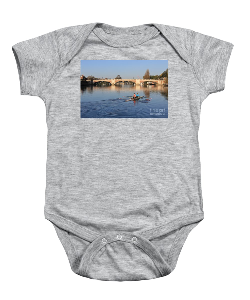 The River Thames At Hampton Court London Rowing Baby Onesie featuring the photograph The River Thames At Hampton Court London by Julia Gavin