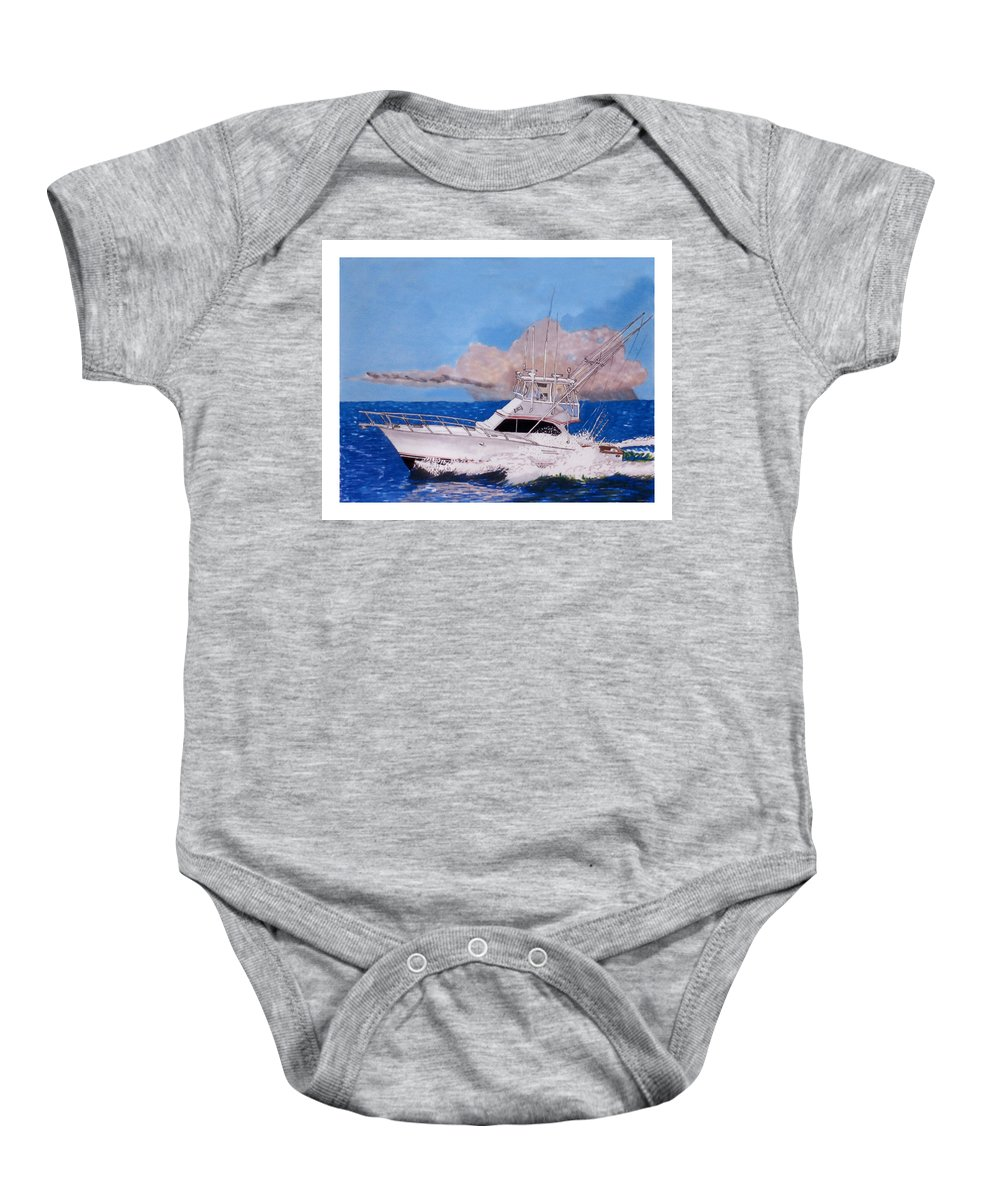 Yacht Portraits Baby Onesie featuring the painting Storm Chasing On The High Seas by Jack Pumphrey