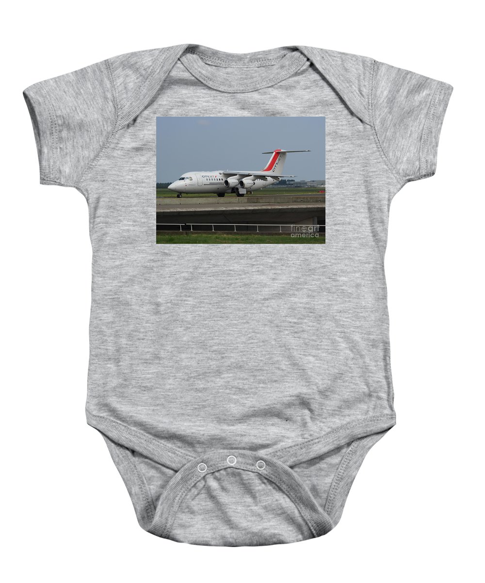 737 Baby Onesie featuring the photograph Cityjet British Aerospace Avro Rj85 by Paul Fearn