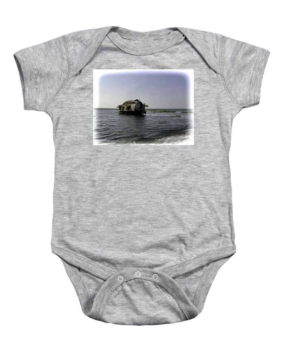 Backwater Baby Onesie featuring the digital art Digital Oil Painting - A Houseboat Moving Placidly Through A Coastal Lagoon In Alleppey by Ashish Agarwal