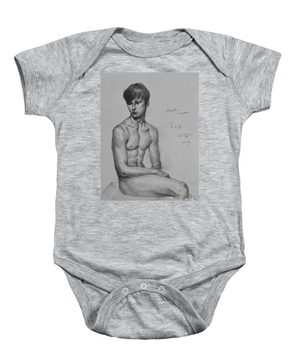 Original Art Baby Onesie featuring the painting Original Drawing Sketch Charcoal Chalk Male Nude Gay Man Art Pencil On Paper By Hongtao by Hongtao   Huang