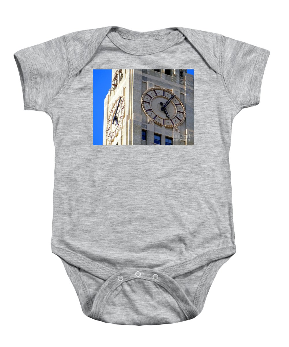 Clocks Baby Onesie featuring the photograph 505 by Ed Weidman