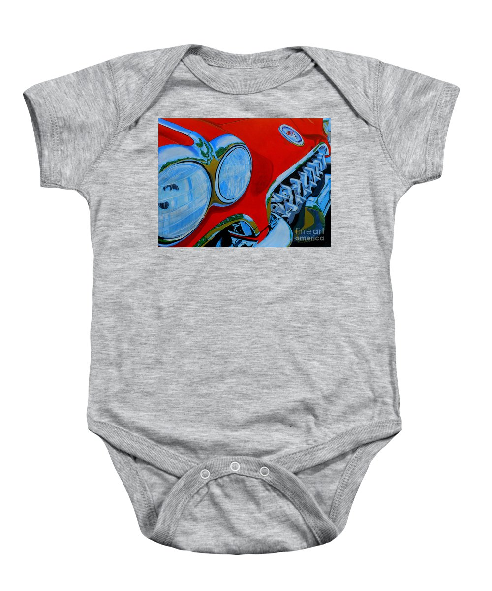 Corvette Baby Onesie featuring the painting 58 Vette by Anthony Dunphy