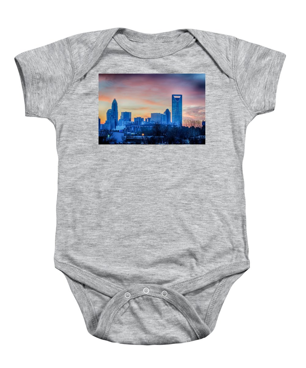Early Baby Onesie featuring the photograph Early Morning Sunrise Over Charlotte City Skyline Downtown by Alex Grichenko