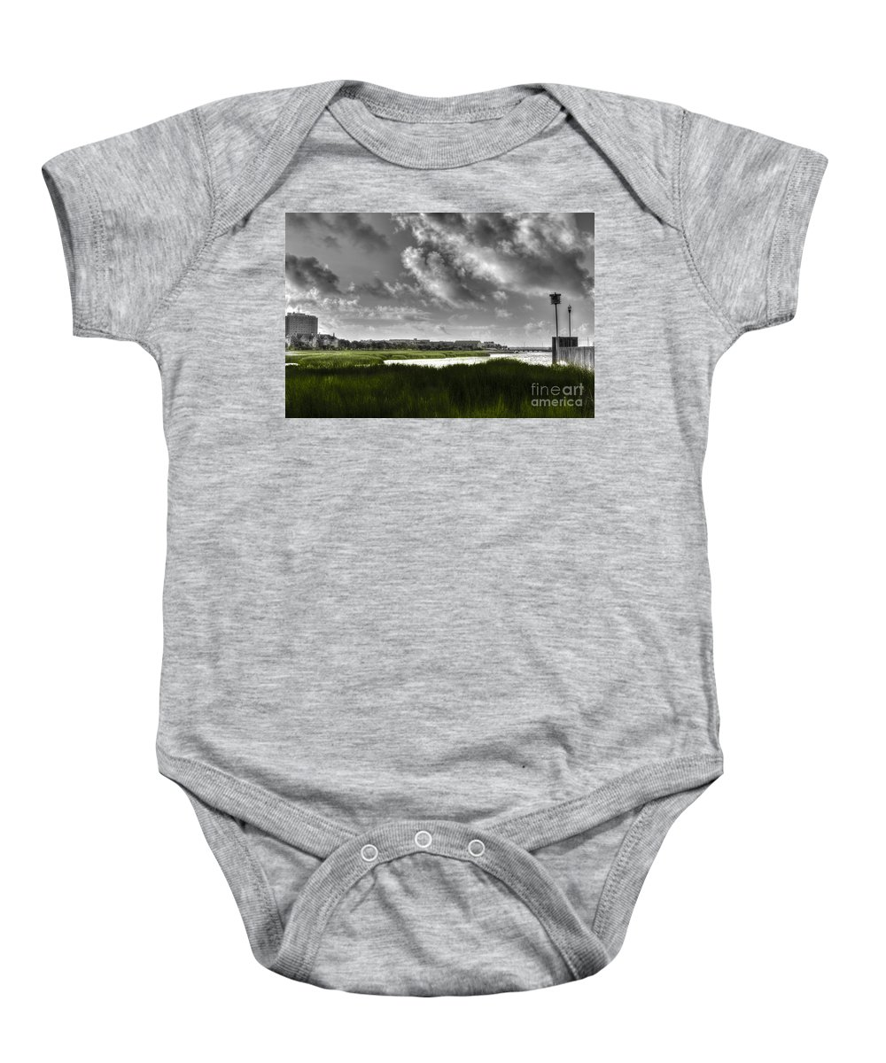 Lowcountry Baby Onesie featuring the photograph Southern Tall Marsh Grass by Dale Powell