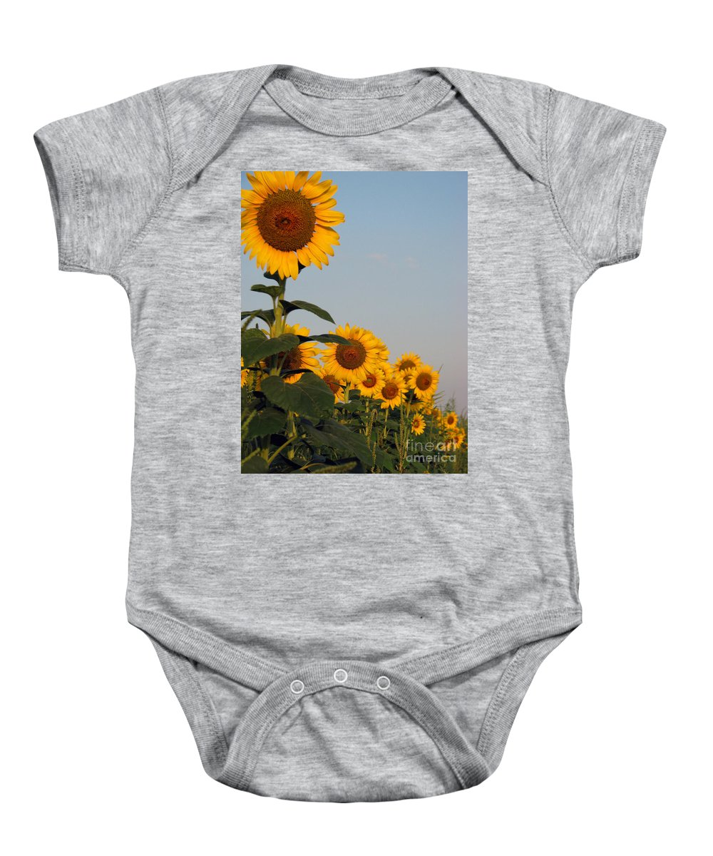 Sunflower Baby Onesie featuring the photograph Sunflower series by Amanda Barcon