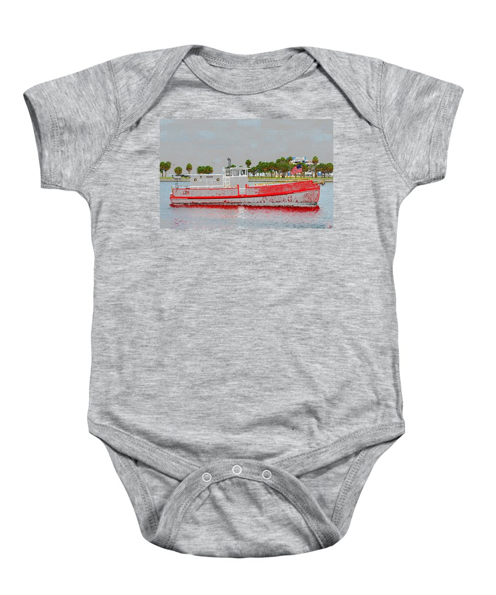 Boat Baby Onesie featuring the painting A Classy Old Lady by David Lee Thompson