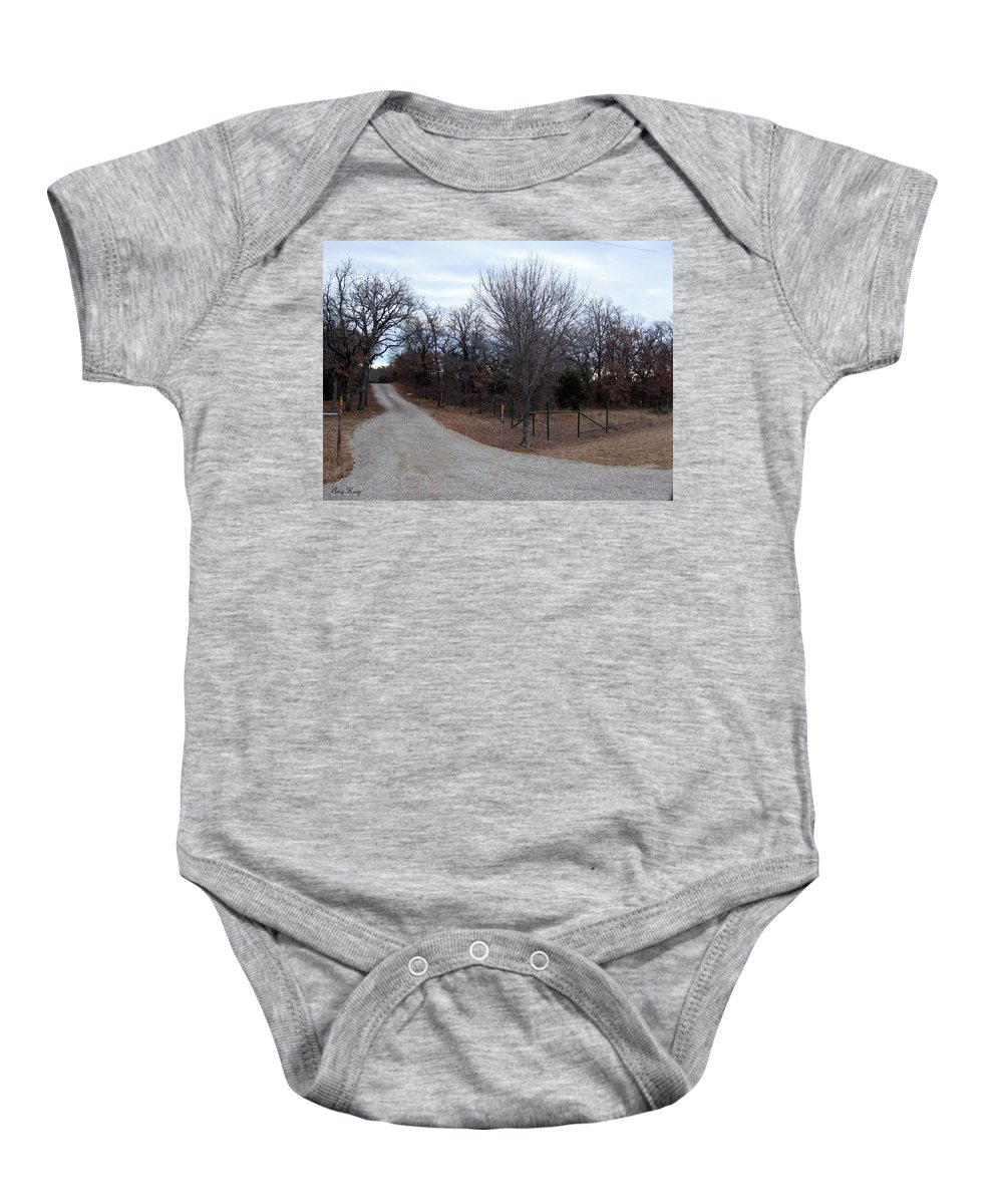 Brazos River Baby Onesie featuring the photograph A Country Driveway Near The Brazos River by Amy Hosp