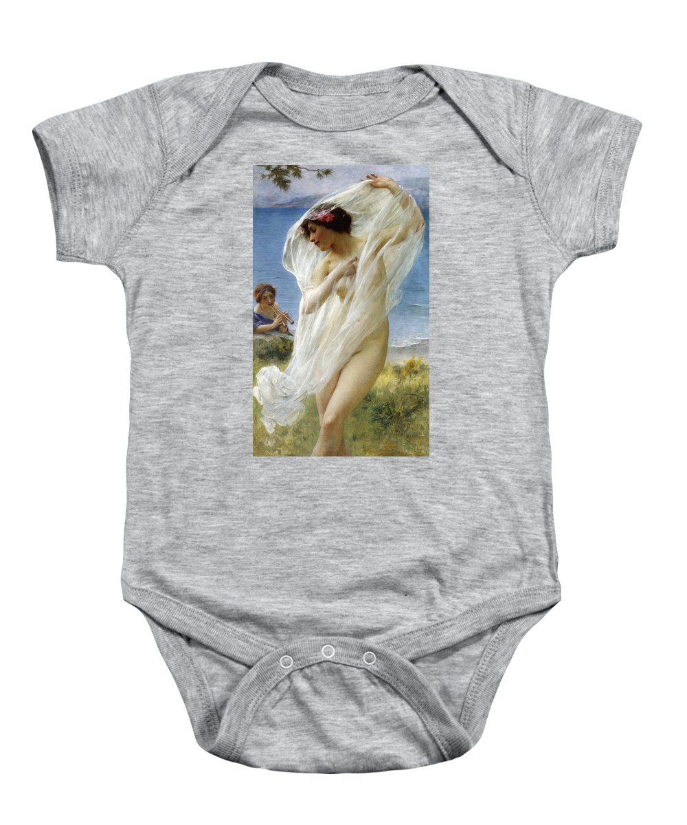 Charles Lenoir Baby Onesie featuring the digital art A Dance By The Sea by Charles Lenoir