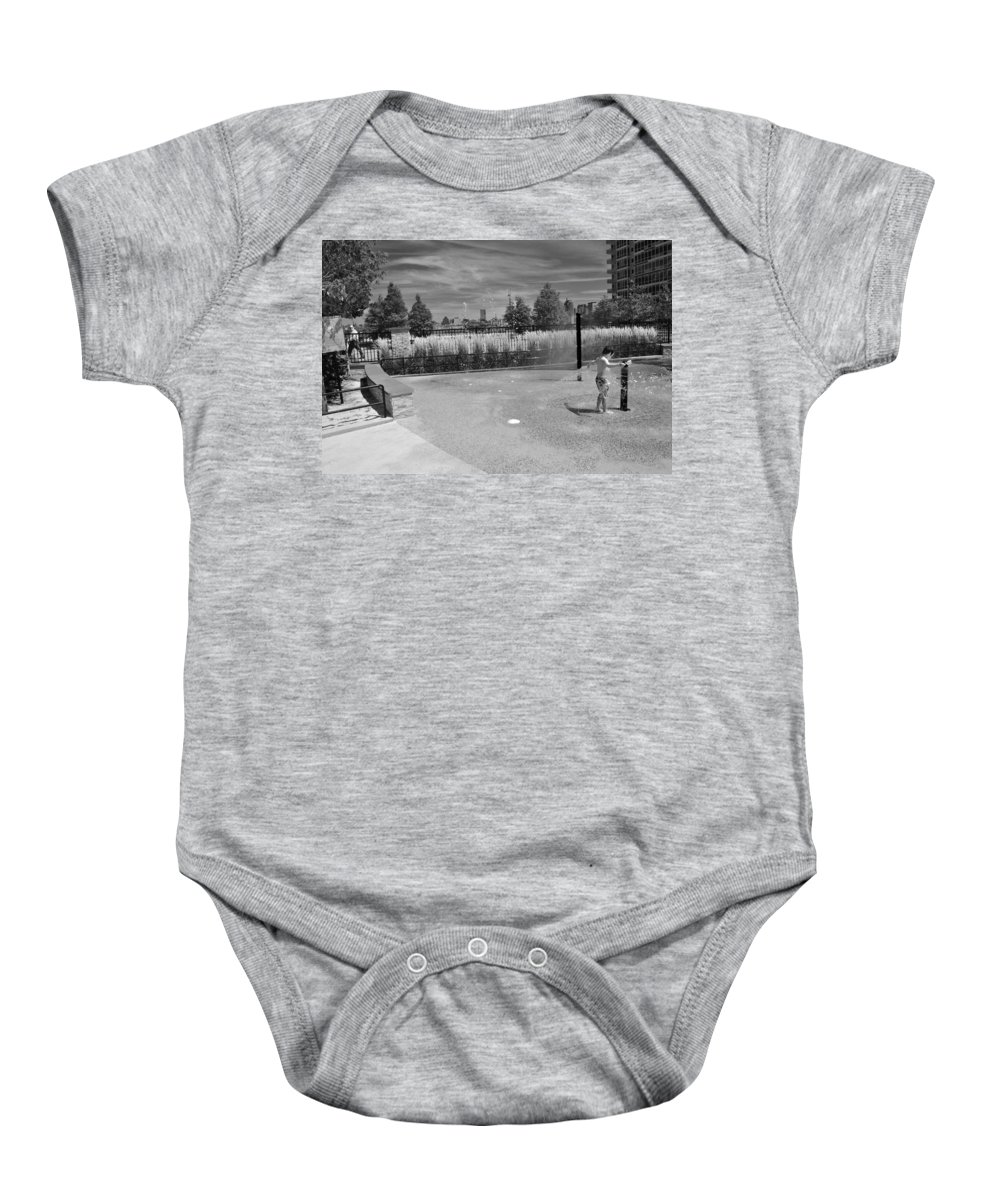 Black And White Photo Baby Onesie featuring the photograph A Day In The Park by Christine Crowley