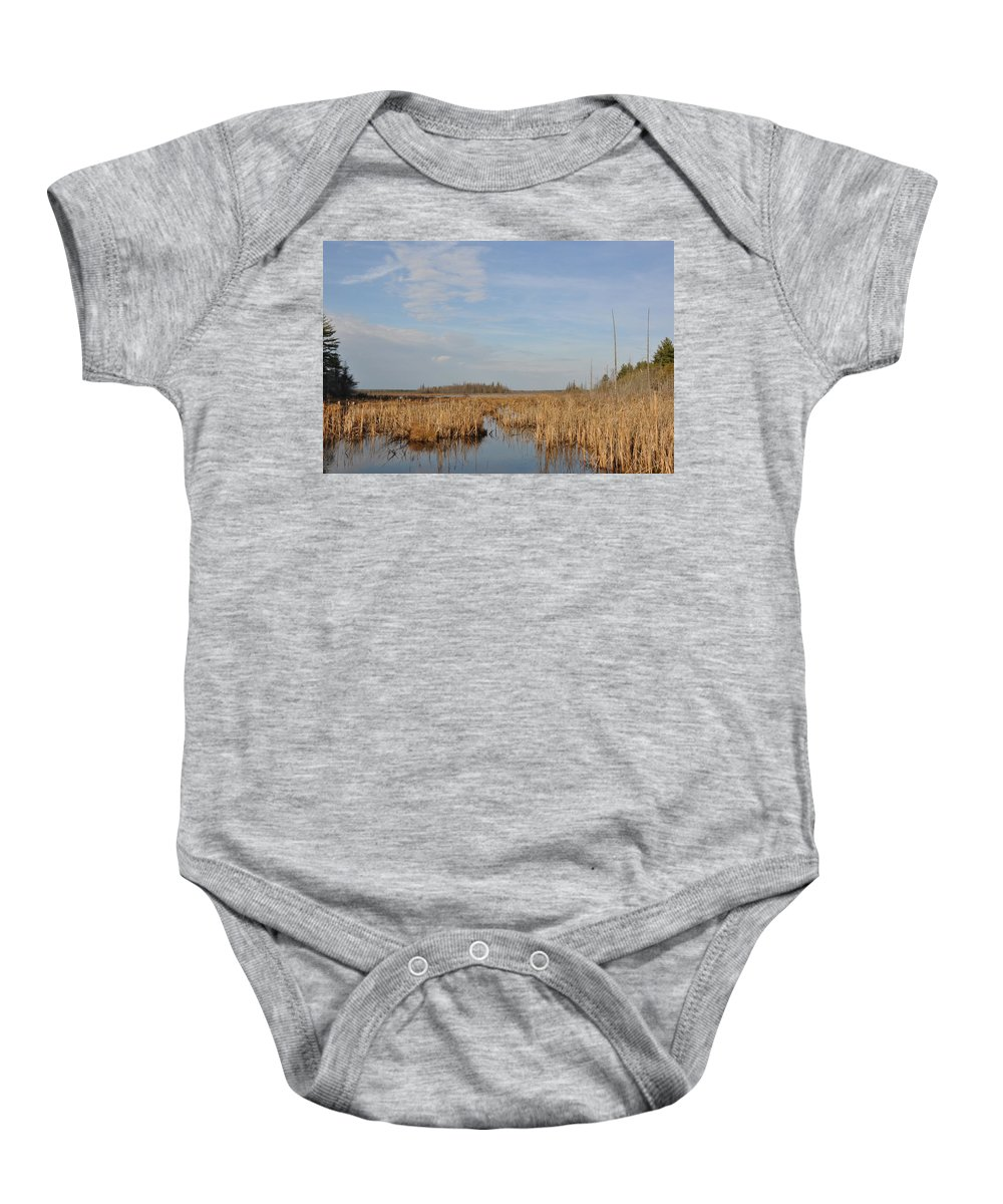 Marsh Baby Onesie featuring the photograph A Fine Place For Ducks by Valerie Kirkwood
